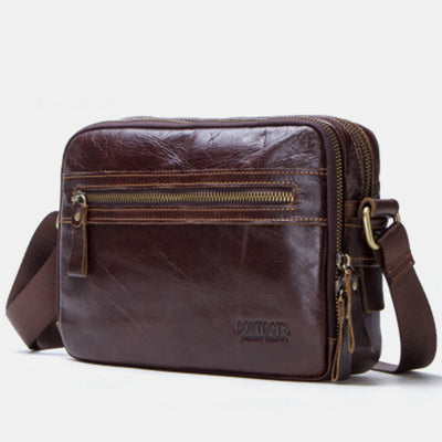 Genuine Leather Large Capacity Multi-Pocket Crossbody Bag