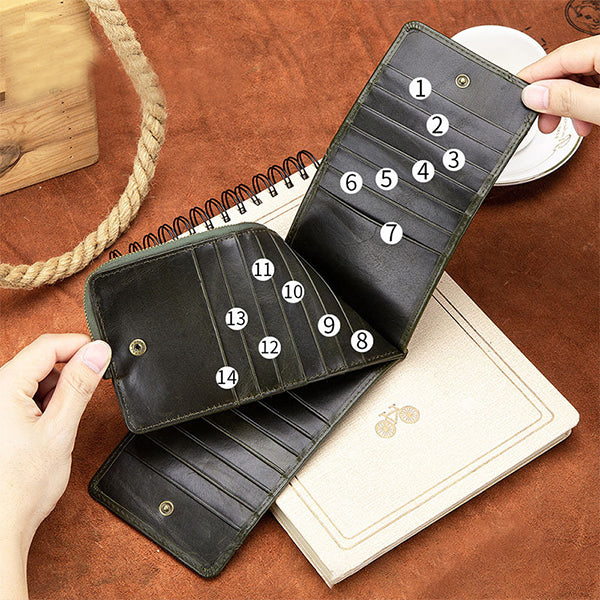 Genuine Leather Multi-Slot Long Purse
