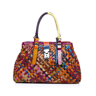 Genuine Leather Multicolor Woven Bag Hobo Tote