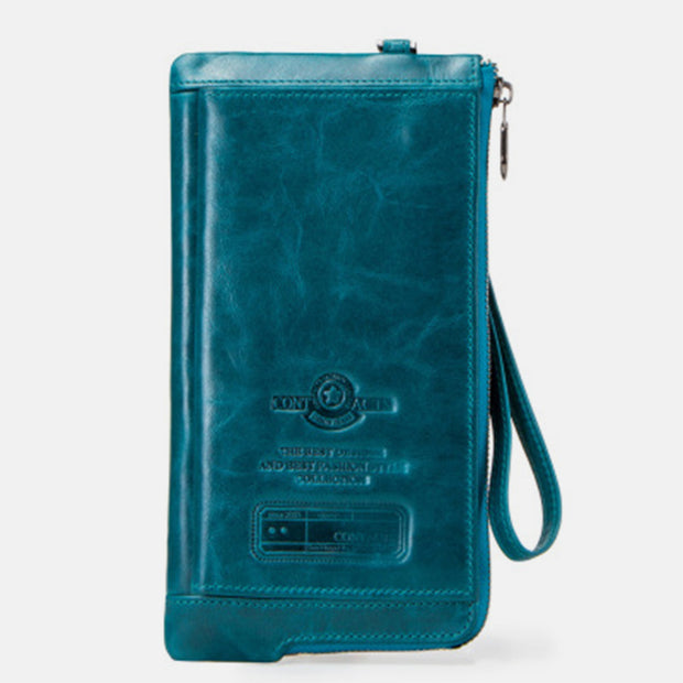 Genuine Leather Multifunction RFID Wristlet Wallet