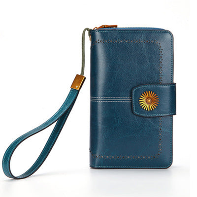 Genuine Leather Rfid Blocking Zipper Wallet