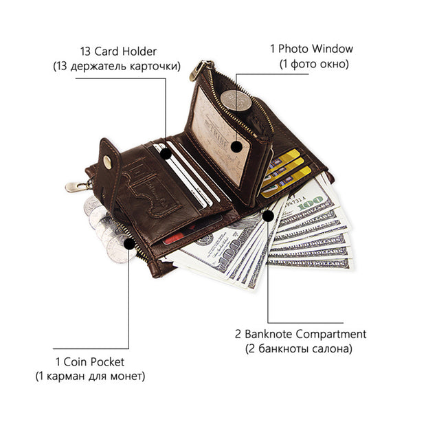 Genuine Leather RFID Trifold Multi-Slot Wallet