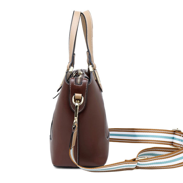 Genuine Leather Stripe Elegant Tote
