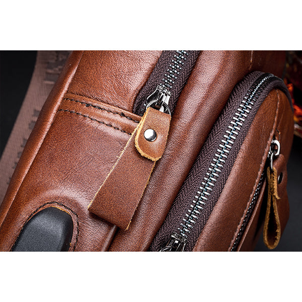 Bullcaptian Crossbody Bag with USB Charging Port | Men's Leather Sling Bag | Chest Bag Shoulder Bag