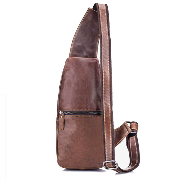 Genuine Leather Vintage Wearing  Resisting Sling Bag