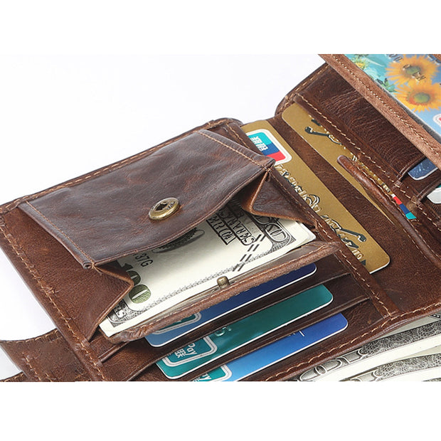 Large Capacity RFID Multi-Slot Vintage Wallet