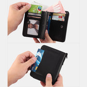 Men's Rfid Bifold Genuine Leather Wallet Zipper Purse
