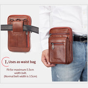 Men's Genuine Leather Solid Belt Bag Phone Purse Crossbody Bag