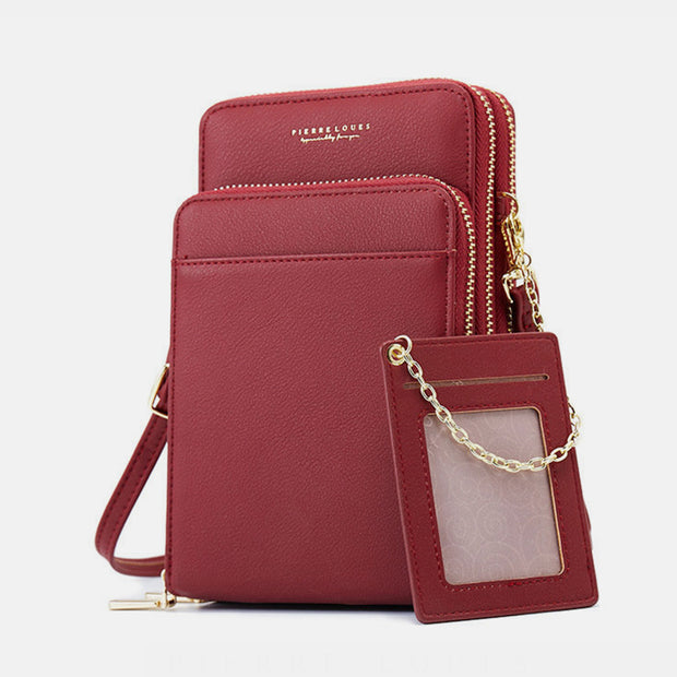 Multi-Layer Solid Casual Mini Crossbody Bag Phone Bag