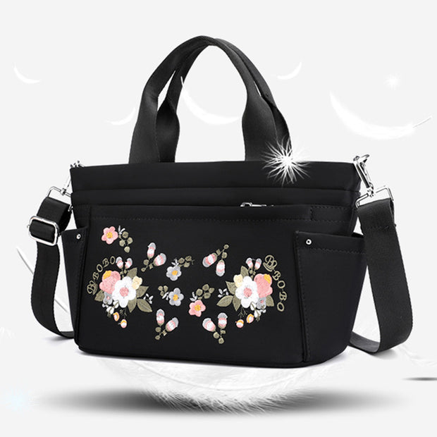 Multi-Pocket Flower Embroideried Handbag Crossbody Bag