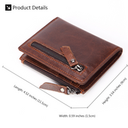 Multifunctional Genuine Leather Bifold Short Wallet