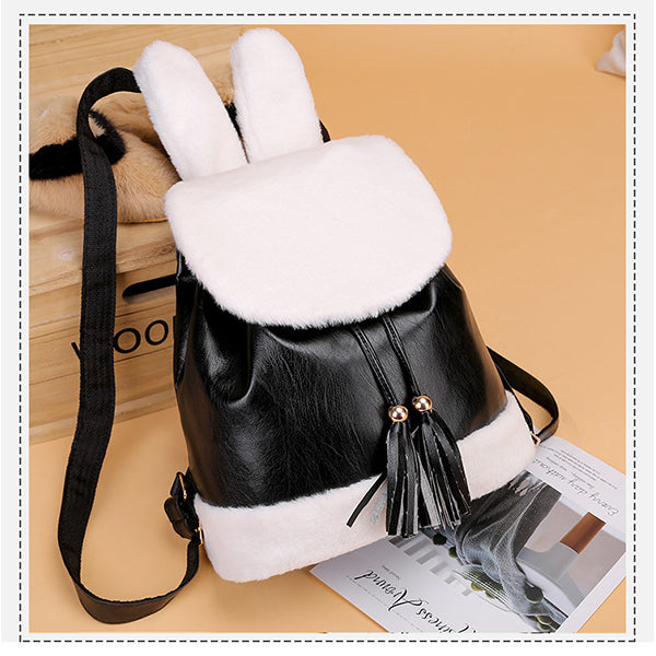Plush College Style Tassel Drawstring Bucket Bag
