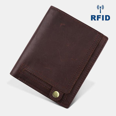 Retro RFID Multi-slot Leather Wallet