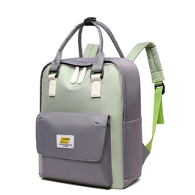 Waterproof Color Block Simple Backpack
