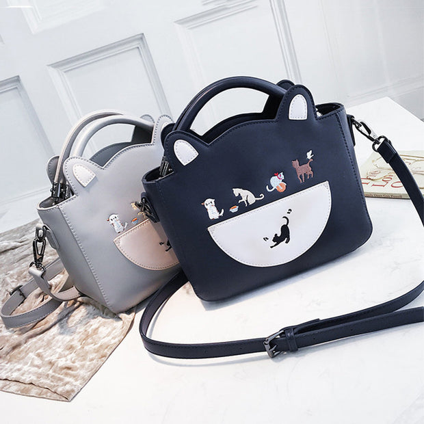 Women's Cute Cat Ear Pattern Crossbody Bag