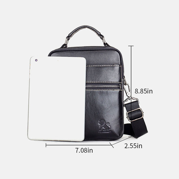 Genuine Leather Multifunction Multi-pockets Crossbody Bag