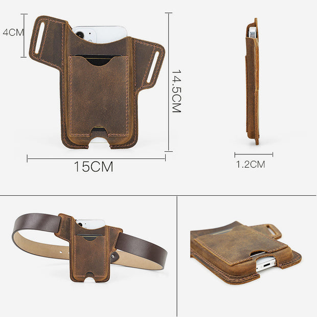 Unisex Genuine Leather Vintage Cell Phone Waist Bag