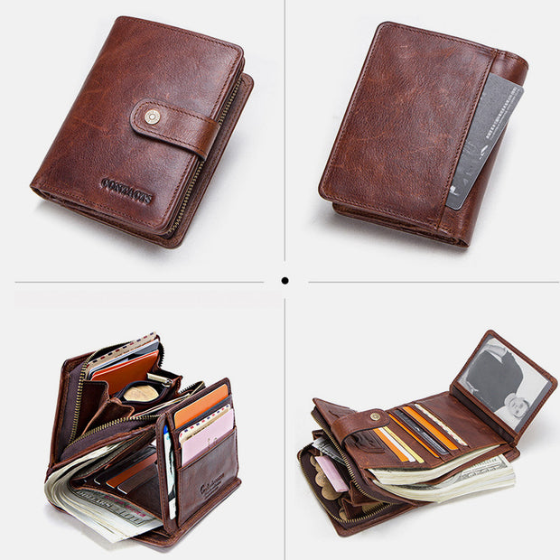 RFID Genuine Leather Multi-Card Buckle Wallet