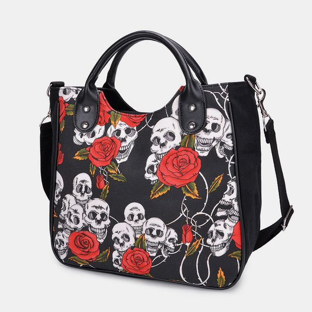Large-Capacity Skull Print Crossbody Bag Handbag