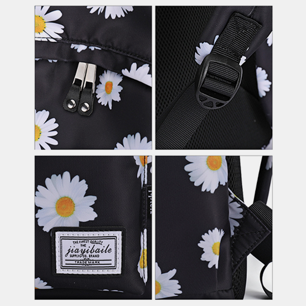 Water-resistant Daisy Printed Backpack