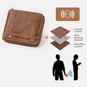RFID Anti-Theft Large Capacity Genuine Leather Wallet