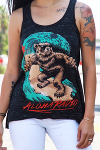 LADIES SURFING CALI-BEAR TANK TOP