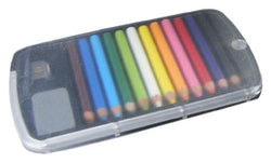 Set of 12 Mini Color Pencils, Sharpener and Eraser