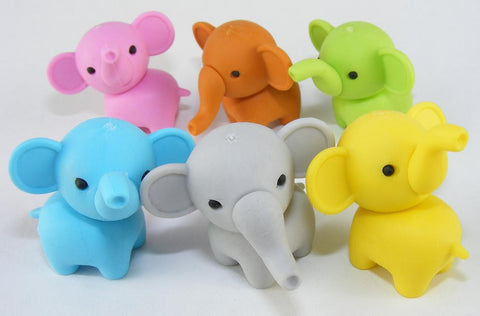 Iwako Elephant Erasers Set of 6