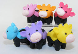 Iwako Cow Erasers with Black Feet Set of 6
