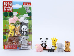 Iwako Zoo Animal Erasers Set of 6 and Bench