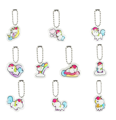 Unicorn Puffy Charms with Ball Chains - 2 Dozen