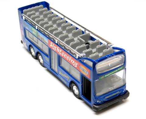 Blue Diecast New York City Sightseeing Bus with Pullback Action