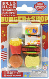 Iwako Burger Shop Fast Food Erasers Set of 6 and Tray