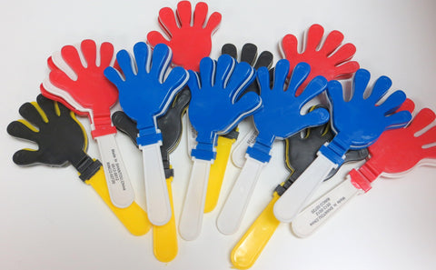 "One Dozen 7.5"" Clapper Hands (Red, Blue, Black & Gold)"