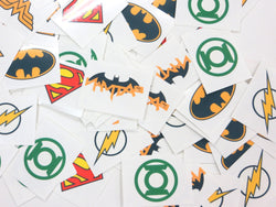 DC Superhero Logos Temporary Tattoos Made in USA (72 Per Order)
