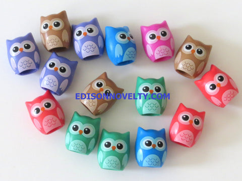 Rubber Owl Pencil Toppers (15)