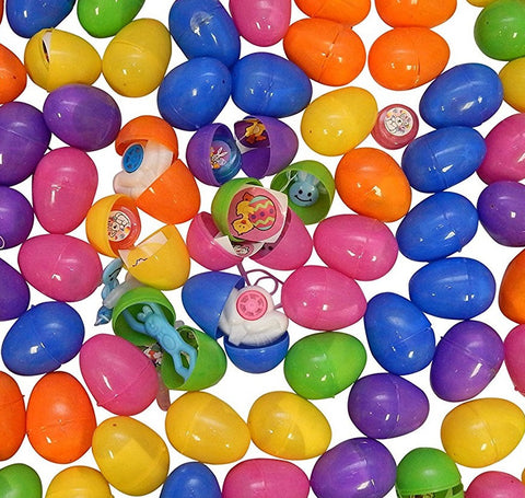 36 Prefilled Easter Eggs (2.5 inches tall Egg, Each Egg Sticker + Toy)