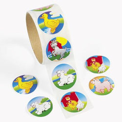 Farm Animals Sticker Roll (100 Stickers)