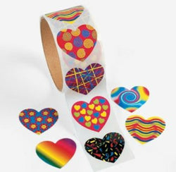 Funky Hearts Sticker Roll (100 Stickers)