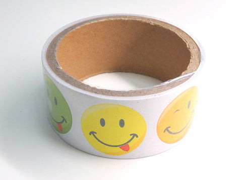Funky Smiley Face Sticker Roll (100 Stickers)