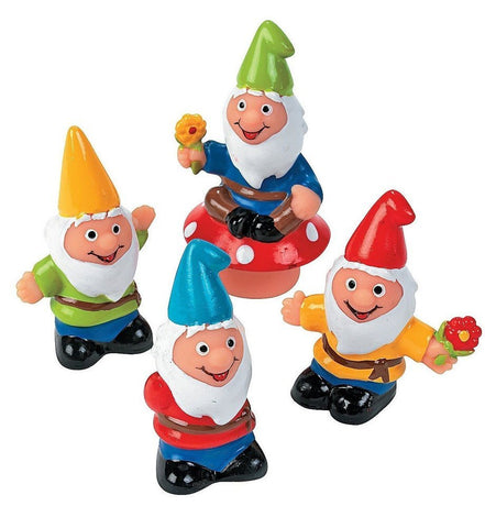 One Dozen Vinyl Plastic Gnome Figures ( 2 1/3 Inches to 3 Inches)