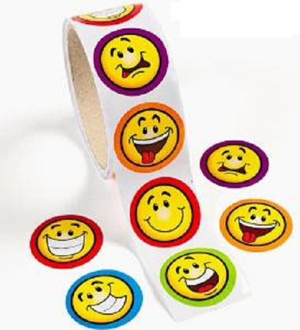 Goofy Smiley Faces Sticker Roll (100 Stickers)
