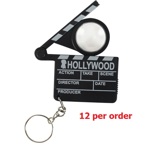 One Dozen Hollywood Mini Clapperboard Key Rings (12)