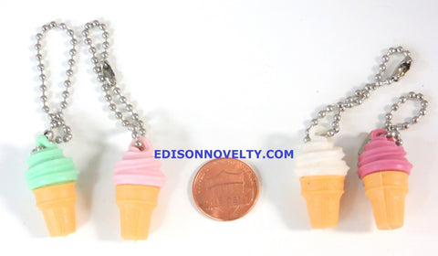 Ice Cream Cones Charms with Ball Chains - 1 Dozen