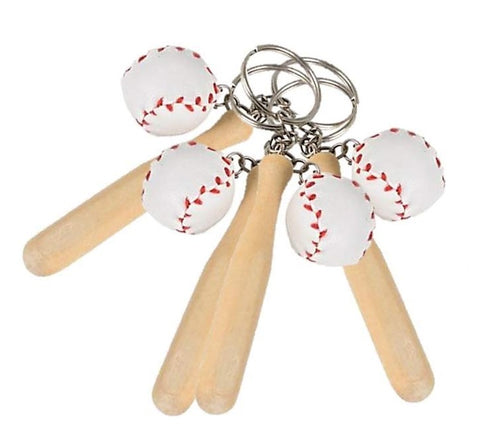 "One Dozen (12) 3"" Wood Baseball bat and ball Keychains"