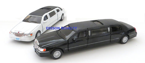 Set of 2 Lincoln Town Car Stretch Limousines Diecast Cars with Pullback Action