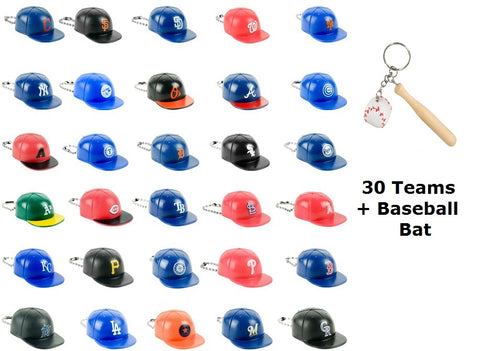 MLB Baseball Mini Baseball Caps Keychain Charms Set of 31 (30Teams+Baseball Bat)