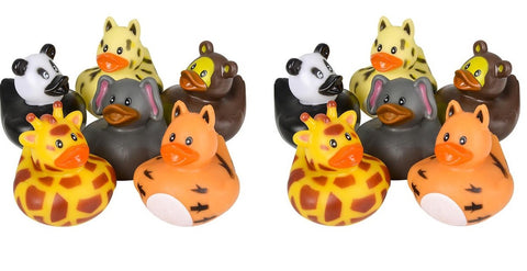 "One Dozen 2"" Zoo Animal Rubber Duckies"