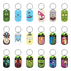 Rick and Morty Metal Dog Tags Key Rings (2 Dozen)