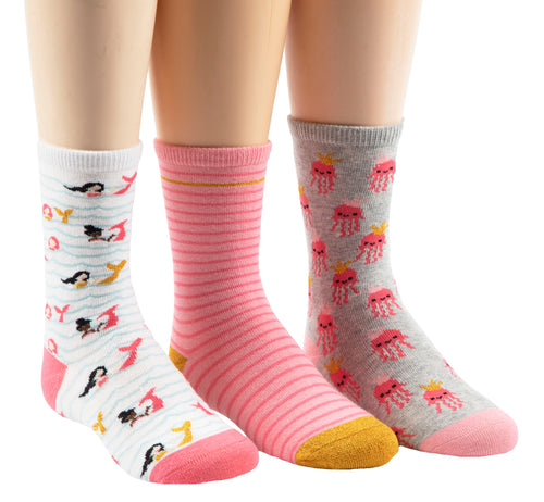 Stride Rite Mavy Mermaid 3-pack coral socks